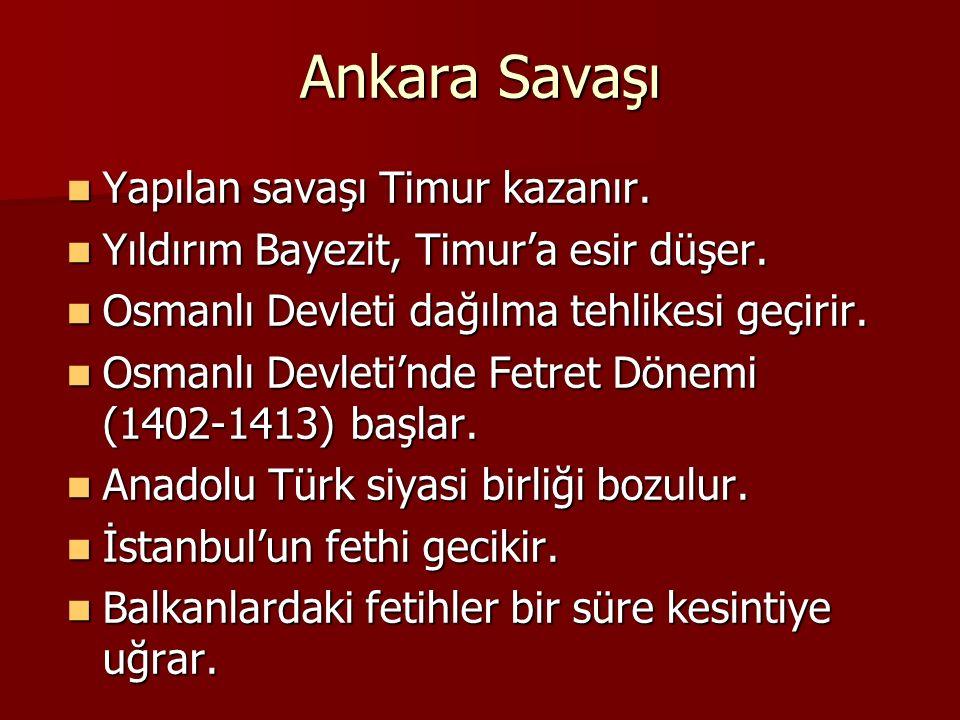 Ankara Savaşı Yapılan savaşı Timur kazanır. Yapılan savaşı Timur kazanır. Yıldırım Bayezit, Timur'a esir düşer. Yıldırım Bayezit, Timur'a esir düşer.