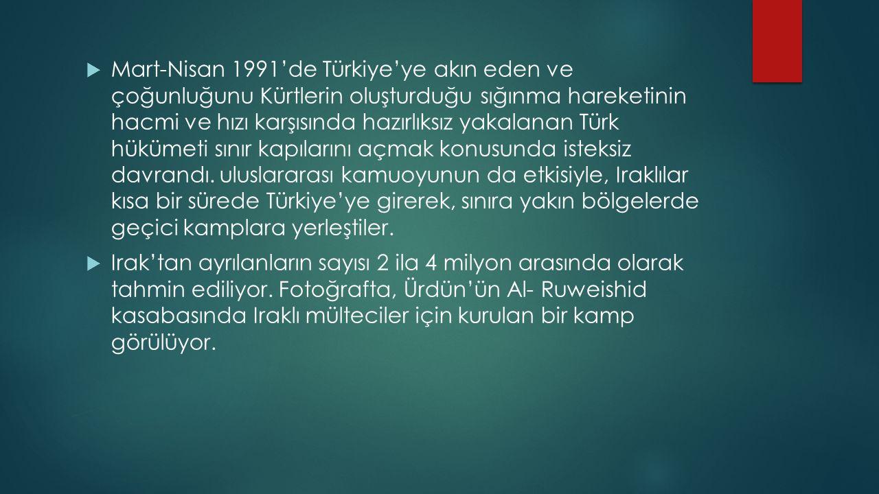  Mart-Nisan 1991'de Türkiye'ye akın eden ve çoğunluğunu Kürtlerin oluşturduğu sığınma hareketinin hacmi ve hızı karşısında hazırlıksız yakalanan Türk