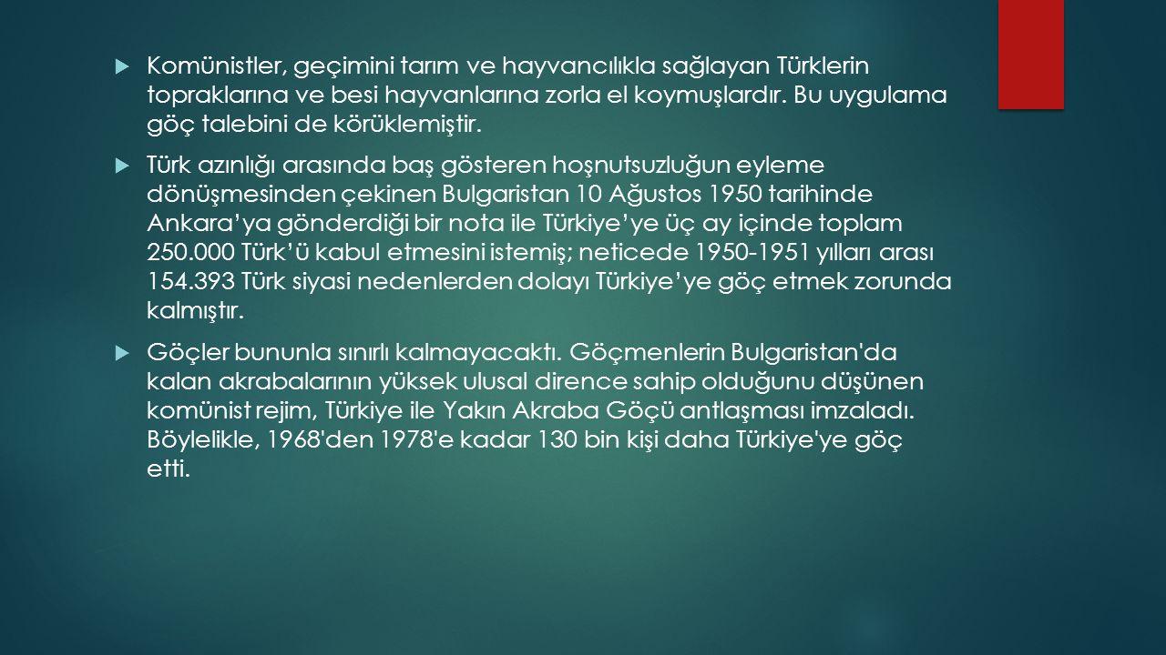  Komünistler, geçimini tarım ve hayvancılıkla sağlayan Türklerin topraklarına ve besi hayvanlarına zorla el koymuşlardır. Bu uygulama göç talebini de