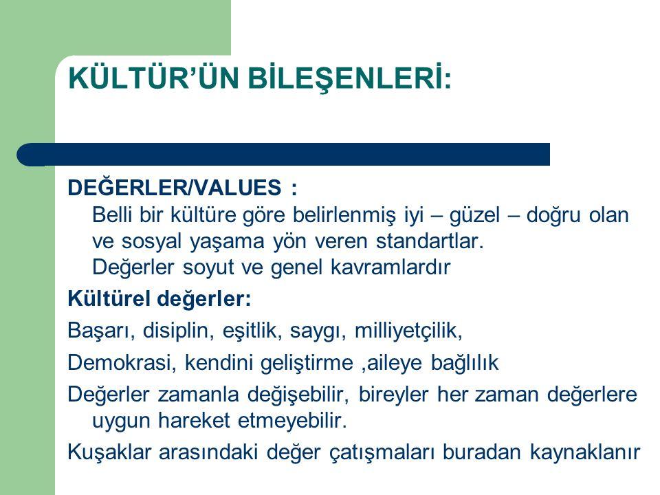 KÜLTÜR'ÜN BİLEŞENLERİ: DEĞERLER/VALUES : Belli bir kültüre göre belirlenmiş iyi – güzel – doğru olan ve sosyal yaşama yön veren standartlar. Değerler