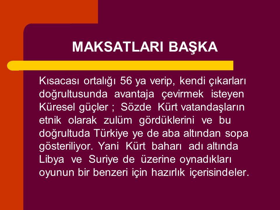 MAKSATLARI BAŞKA Kısacası ortalığı 56 ya verip, kendi çıkarları doğrultusunda avantaja çevirmek isteyen Küresel güçler ; Sözde Kürt vatandaşların etni