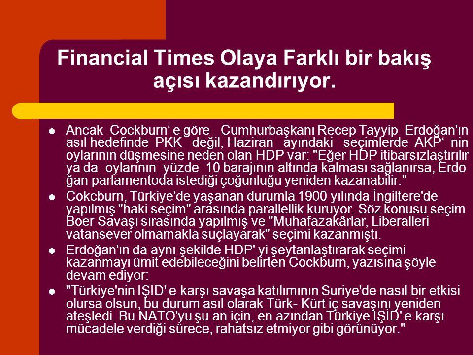 Financial Times Olaya Farklı bir bakış açısı kazandırıyor. Ancak Cockburn' e göre Cumhurbaşkanı Recep Tayyip Erdoğan'ın asıl hedefinde PKK değil, Hazi