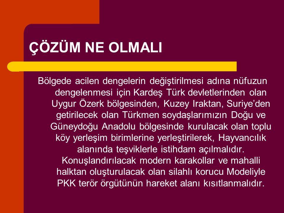 ÇÖZÜM NE OLMALI Bölgede acilen dengelerin değiştirilmesi adına nüfuzun dengelenmesi için Kardeş Türk devletlerinden olan Uygur Özerk bölgesinden, Kuze