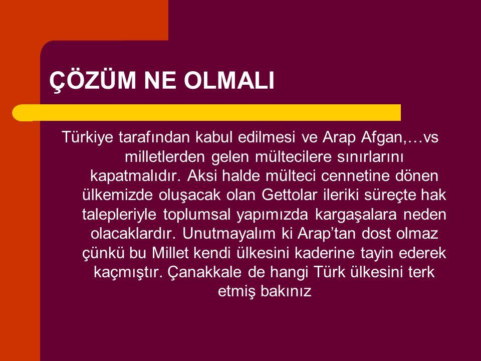 ÇÖZÜM NE OLMALI Türkiye tarafından kabul edilmesi ve Arap Afgan,…vs milletlerden gelen mültecilere sınırlarını kapatmalıdır. Aksi halde mülteci cennet