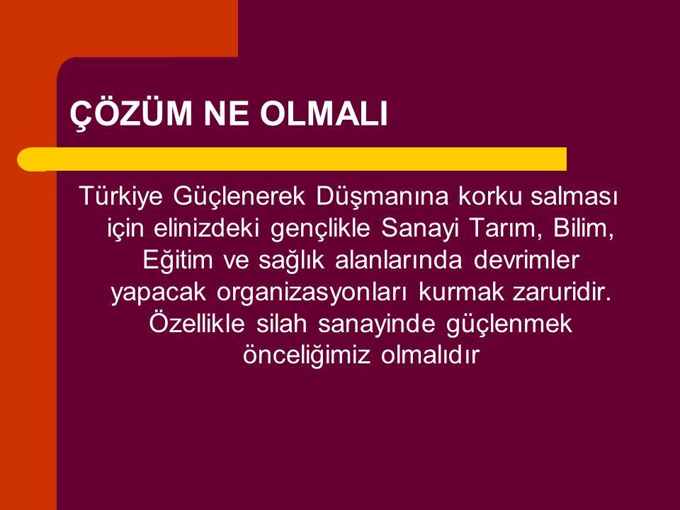 ÇÖZÜM NE OLMALI Türkiye Güçlenerek Düşmanına korku salması için elinizdeki gençlikle Sanayi Tarım, Bilim, Eğitim ve sağlık alanlarında devrimler yapacak organizasyonları kurmak zaruridir.