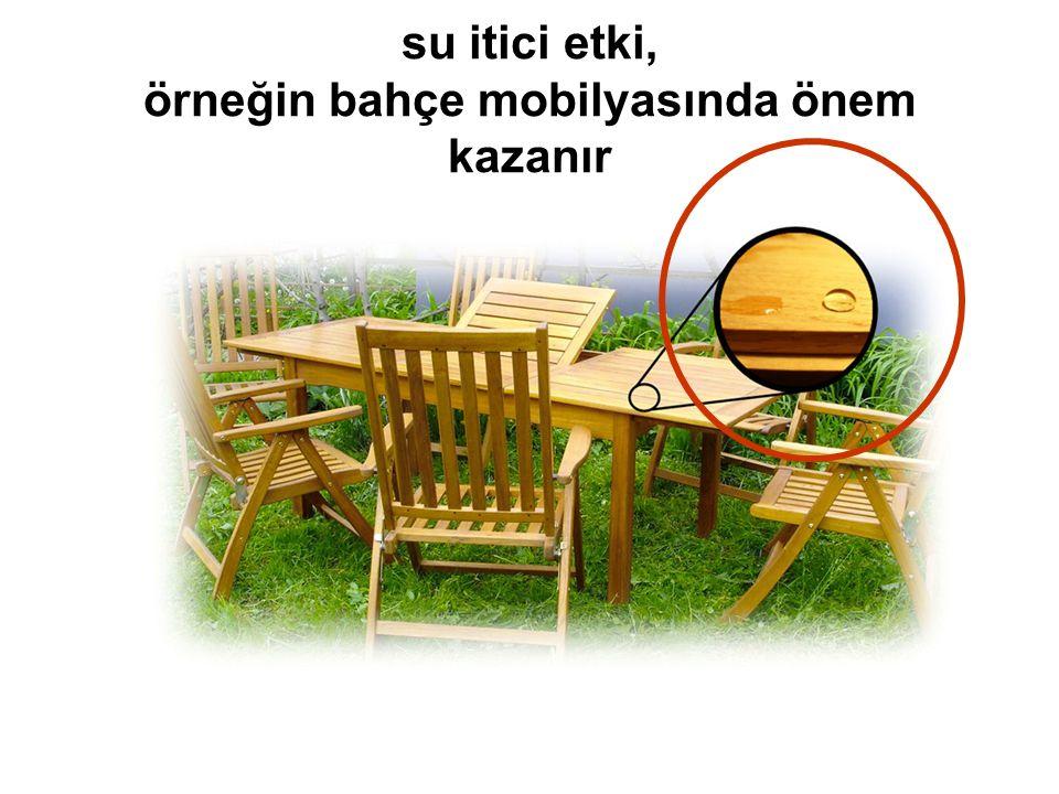 su itici etki, örneğin bahçe mobilyasında önem kazanır