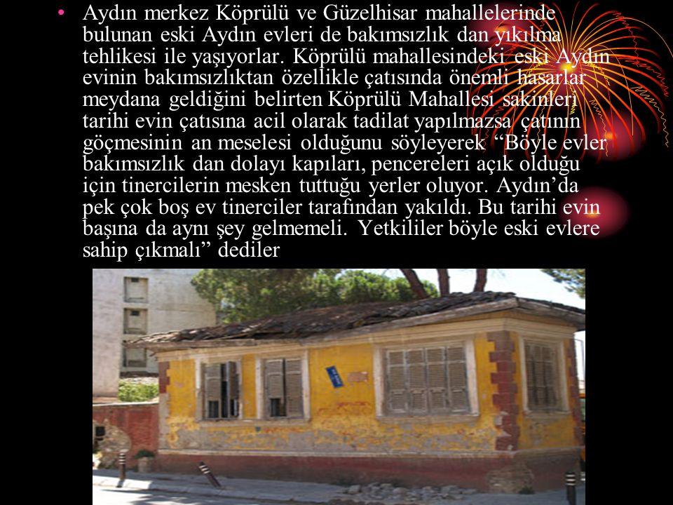 Aydın merkez Köprülü ve Güzelhisar mahallelerinde bulunan eski Aydın evleri de bakımsızlık dan yıkılma tehlikesi ile yaşıyorlar. Köprülü mahallesindek