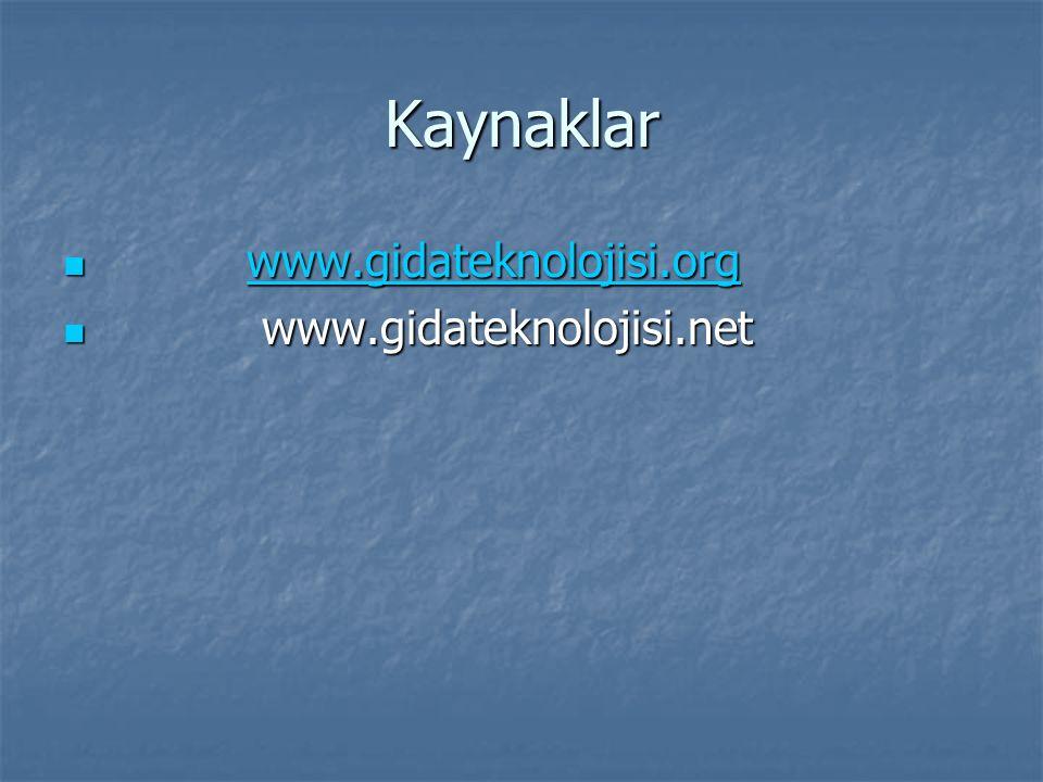 Kaynaklar www.gidateknolojisi.org www.gidateknolojisi.orgwww.gidateknolojisi.org www.gidateknolojisi.net www.gidateknolojisi.net