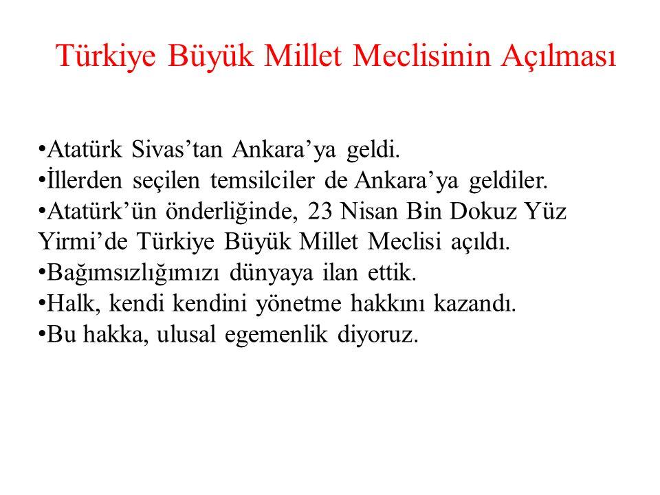 Türkiye Büyük Millet Meclisinin Açılması Atatürk Sivas'tan Ankara'ya geldi.