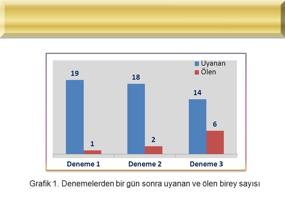 Grafik 1. Denemelerden bir gün sonra uyanan ve ölen birey sayısı