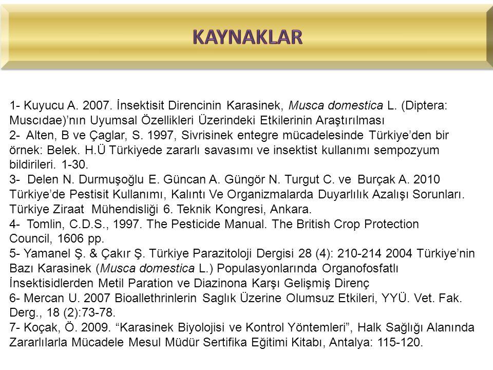 1- Kuyucu A. 2007. İnsektisit Direncinin Karasinek, Musca domestica L. (Diptera: Muscıdae)'nın Uyumsal Özellikleri Üzerindeki Etkilerinin Araştırılmas
