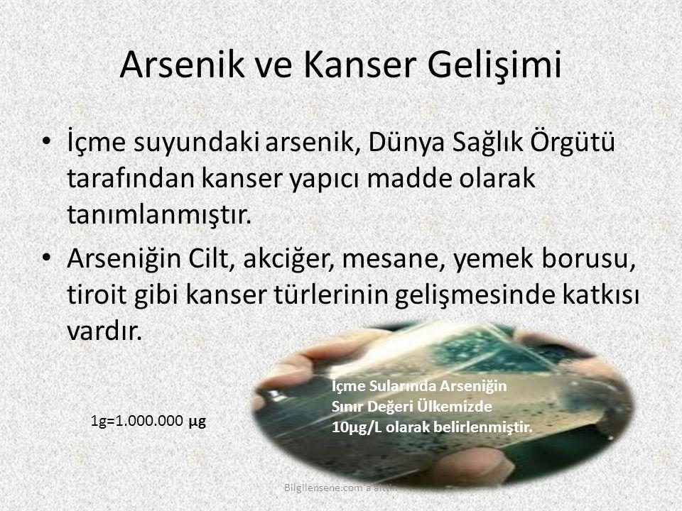 Arsenik ve Kanser Gelişimi İçme suyundaki arsenik, Dünya Sağlık Örgütü tarafından kanser yapıcı madde olarak tanımlanmıştır. Arseniğin Cilt, akciğer,