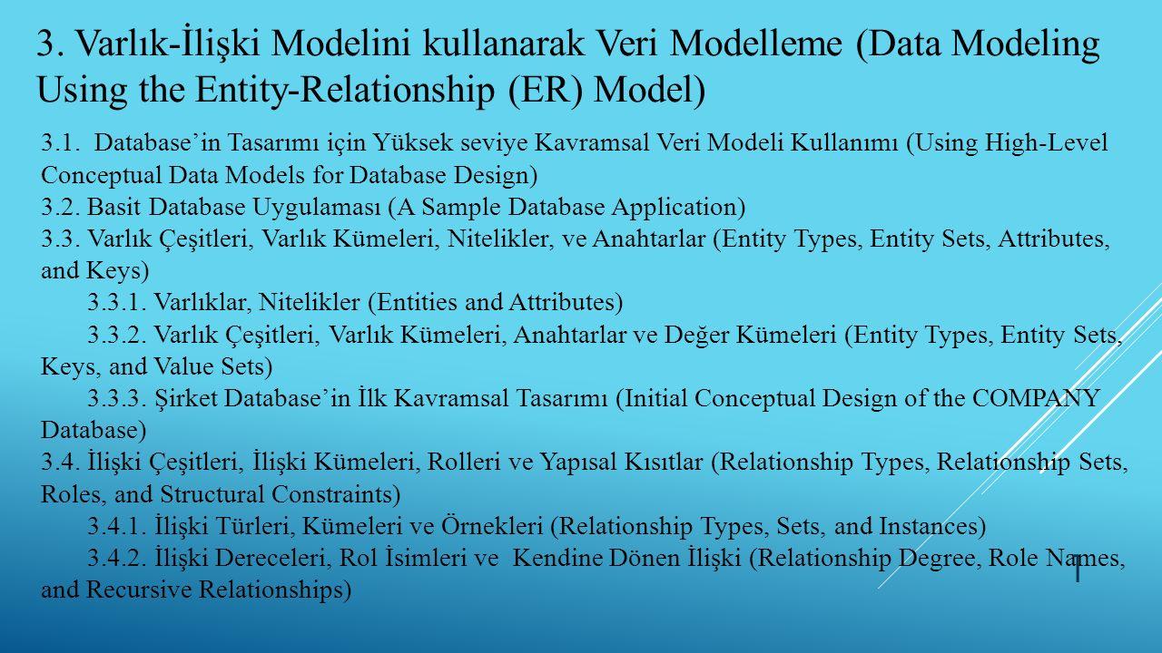 3. Varlık-İlişki Modelini kullanarak Veri Modelleme (Data Modeling Using the Entity-Relationship (ER) Model) 3.1. Database'in Tasarımı için Yüksek sev