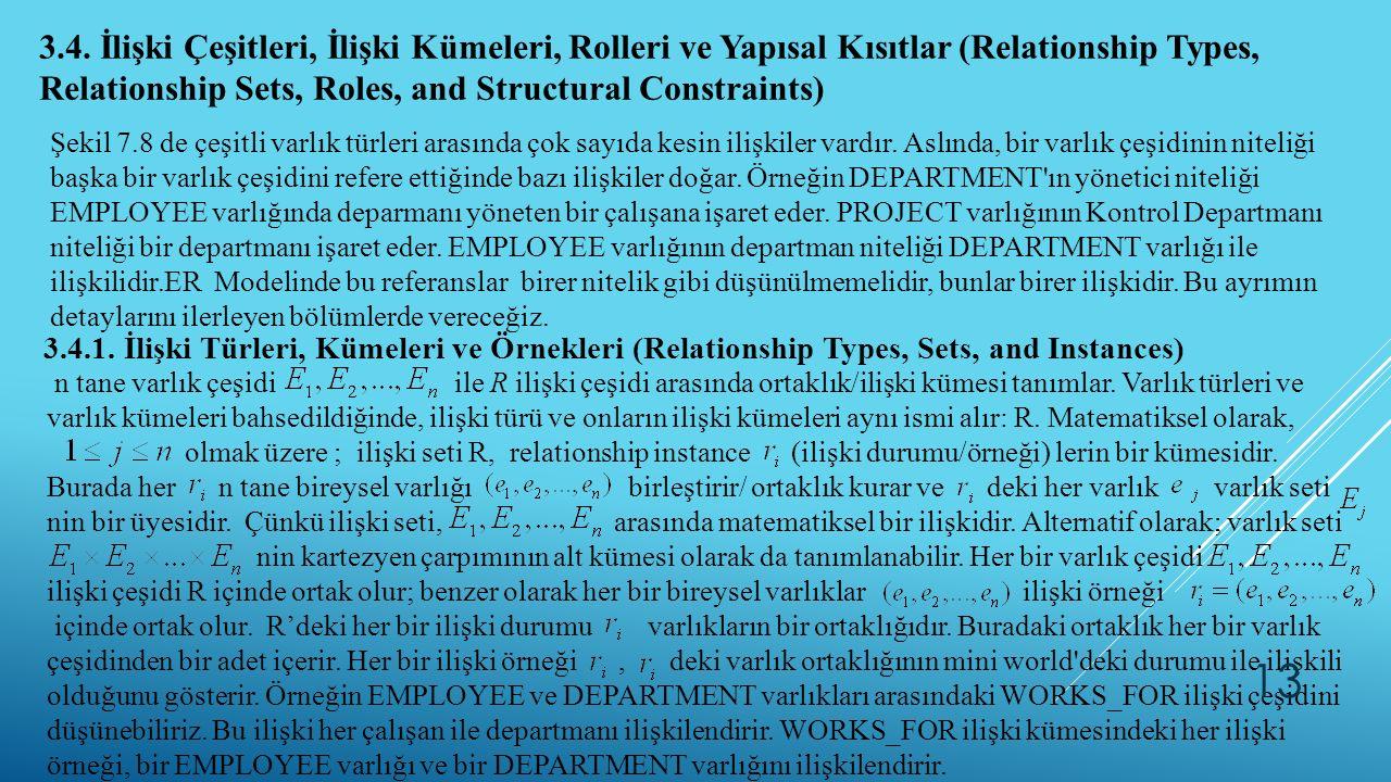3.4. İlişki Çeşitleri, İlişki Kümeleri, Rolleri ve Yapısal Kısıtlar (Relationship Types, Relationship Sets, Roles, and Structural Constraints) Şekil 7