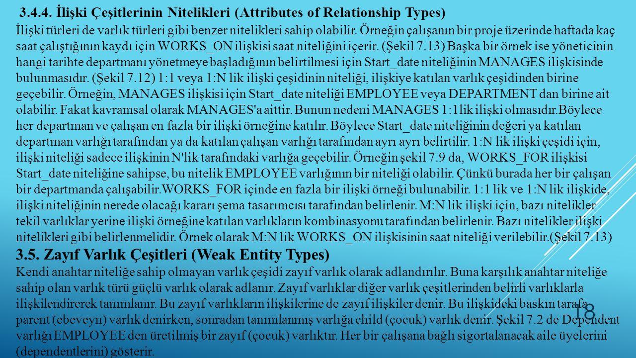 3.4.4. İlişki Çeşitlerinin Nitelikleri (Attributes of Relationship Types) İlişki türleri de varlık türleri gibi benzer nitelikleri sahip olabilir. Örn