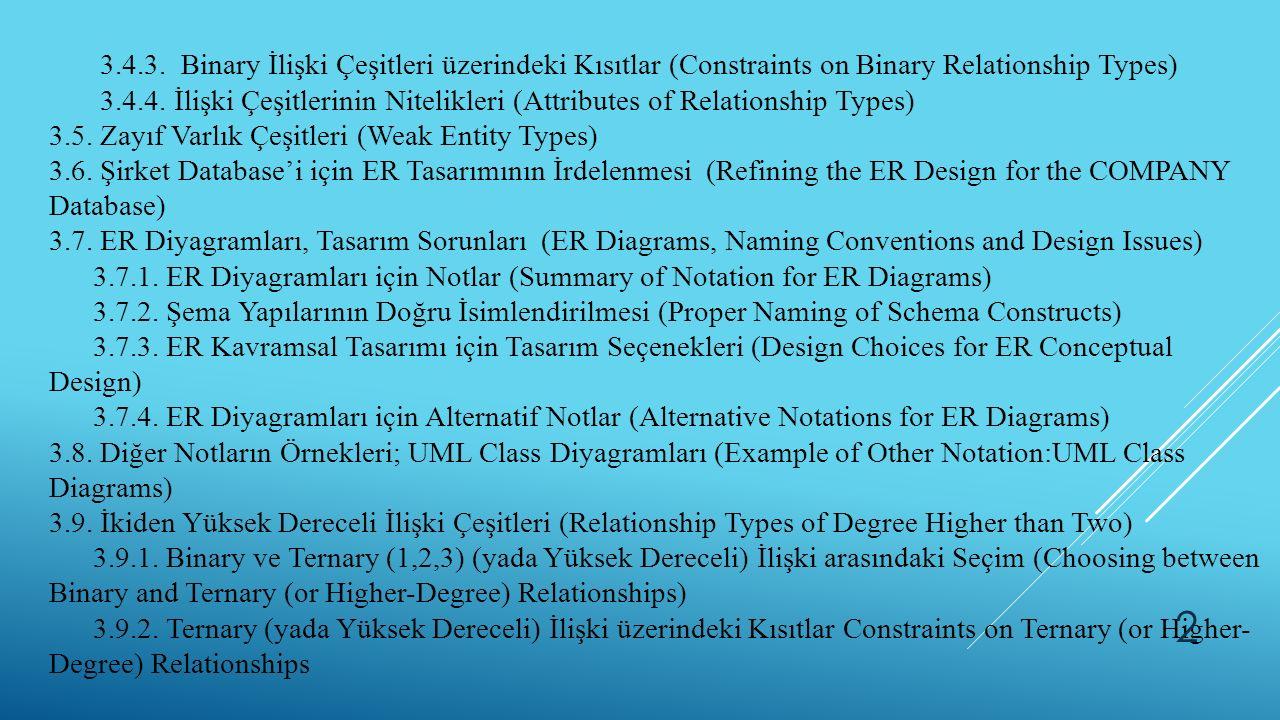 3.4.3. Binary İlişki Çeşitleri üzerindeki Kısıtlar (Constraints on Binary Relationship Types) 3.4.4. İlişki Çeşitlerinin Nitelikleri (Attributes of Re