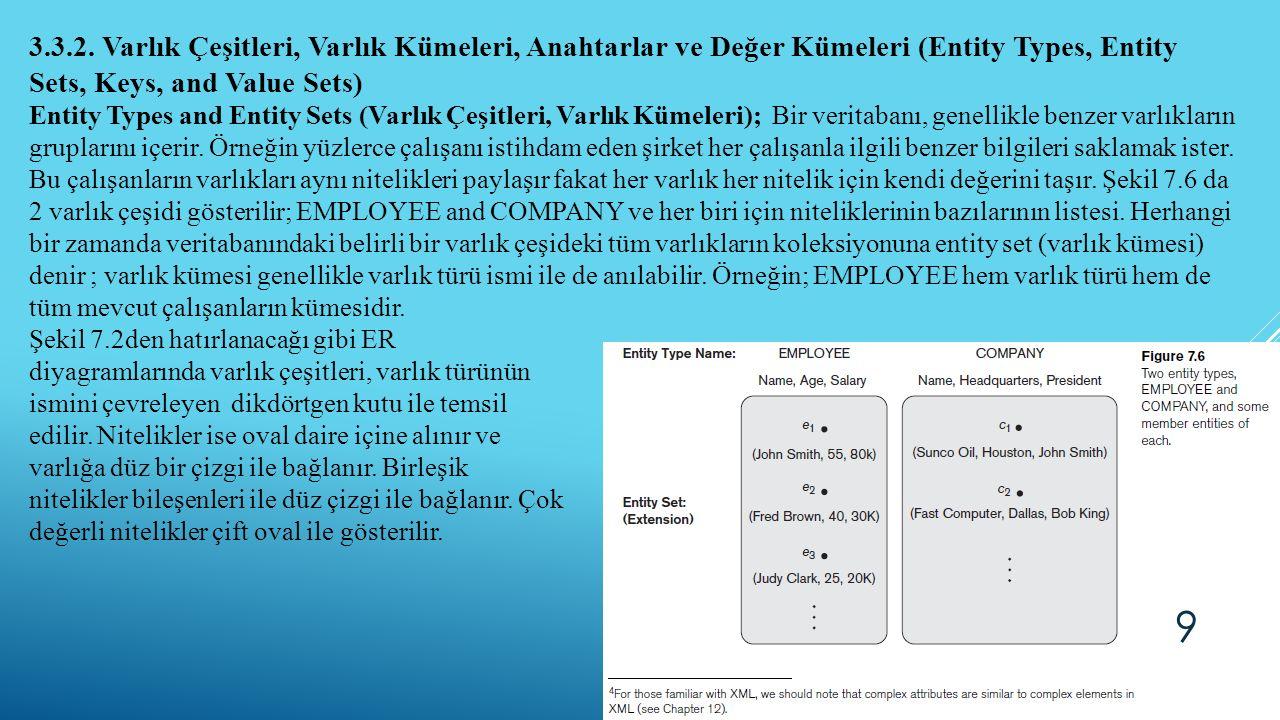 3.3.2. Varlık Çeşitleri, Varlık Kümeleri, Anahtarlar ve Değer Kümeleri (Entity Types, Entity Sets, Keys, and Value Sets) Entity Types and Entity Sets