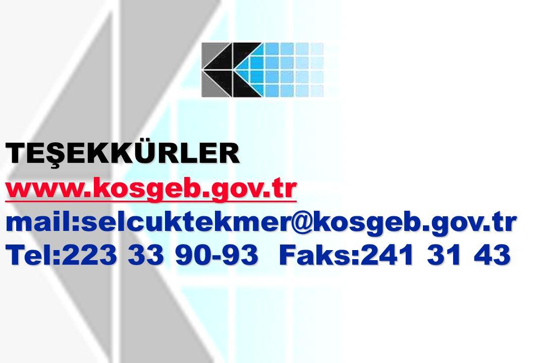 TEŞEKKÜRLER www.kosgeb.gov.tr mail:selcuktekmer@kosgeb.gov.tr Tel:223 33 90-93 Faks:241 31 43 www.kosgeb.gov.tr