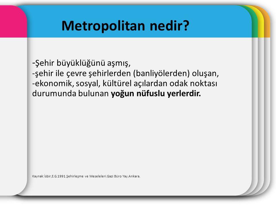 Metropolitan nedir? - Şehir büyüklüğünü aşmış, -şehir ile çevre şehirlerden (banliyölerden) oluşan, -ekonomik, sosyal, kültürel açılardan odak noktası