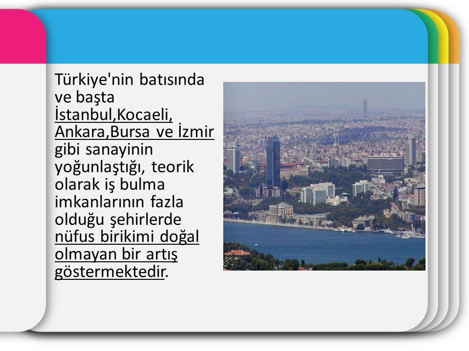 Türkiye'nin batısında ve başta İstanbul,Kocaeli, Ankara,Bursa ve İzmir gibi sanayinin yoğunlaştığı, teorik olarak iş bulma imkanlarının fazla olduğu ş