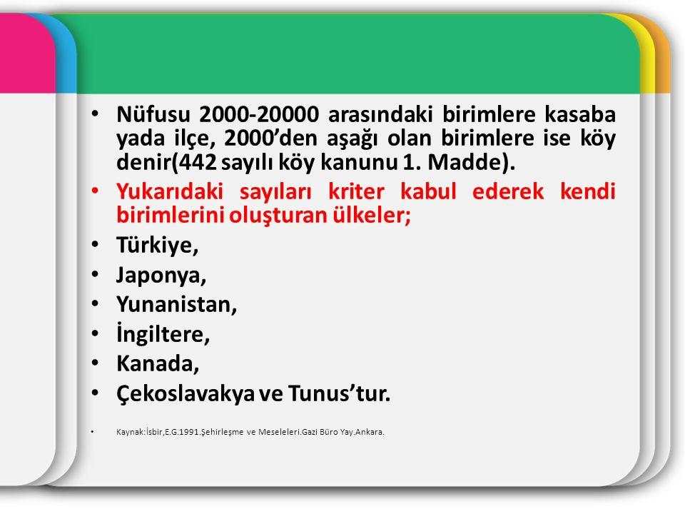 Nüfusu 2000-20000 arasındaki birimlere kasaba yada ilçe, 2000'den aşağı olan birimlere ise köy denir(442 sayılı köy kanunu 1. Madde). Yukarıdaki sayıl
