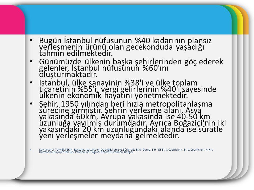Bugün İstanbul nüfusunun %40 kadarının plansız yerleşmenin ürünü olan gecekonduda yaşadığı tahmin edilmektedir. Günümüzde ülkenin başka şehirlerinden
