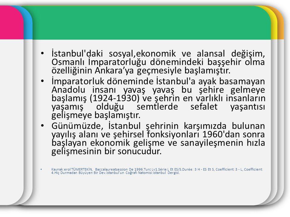 İstanbul'daki sosyal,ekonomik ve alansal değişim, Osmanlı İmparatorluğu dönemindeki başşehir olma özelliğinin Ankara'ya geçmesiyle başlamıştır. İmpara
