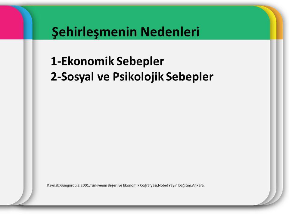 Şehirlerin sınıflandırılması 1.Kronolojik safhalarına göre(Jenetik) sınıflandırma 2.Morfolojik sınıflandırma 3.Genişliğine göre sınıflandırma 4.Nüfuslarına göre sınıflandırma 5.Fonksiyonlarına göre sınıflandırma 6.Coğrafik ve topoğrafik özelliklerine göre sınıflandırma Kaynak:Güngördü,E..2001.Türkiyenin Beşeri ve Ekonomik Coğrafyası.Nobel Yayın Dağıtım.Ankara.
