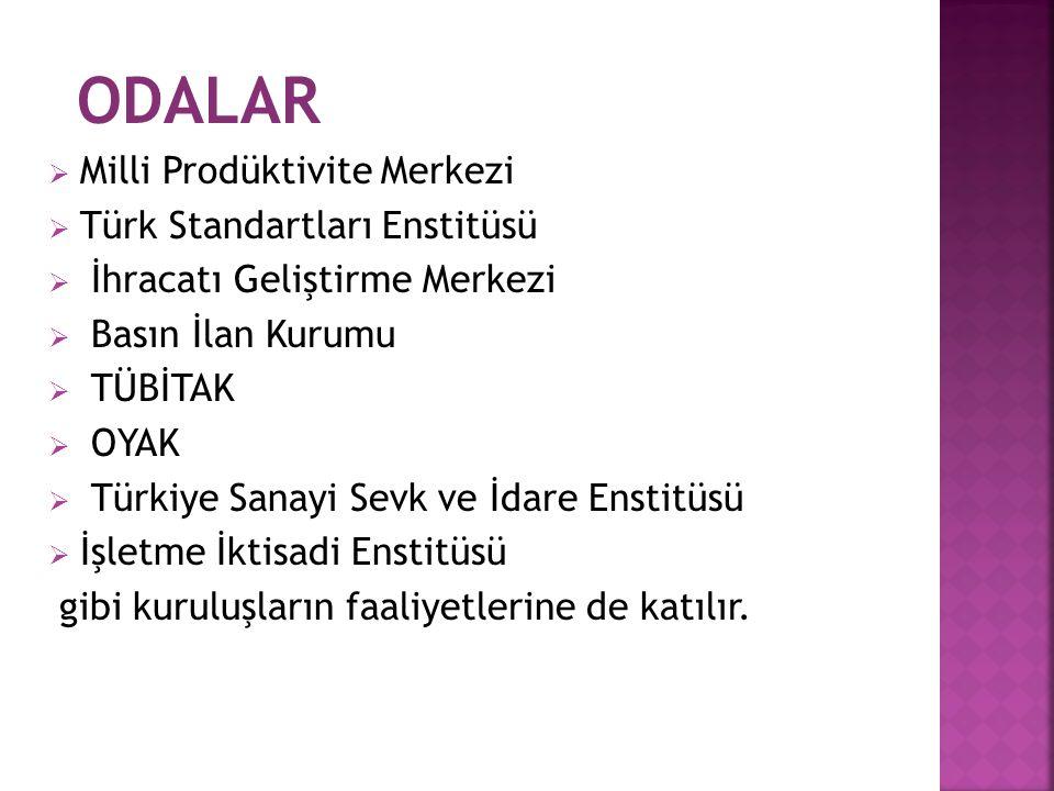 ODALAR  Milli Prodüktivite Merkezi  Türk Standartları Enstitüsü  İhracatı Geliştirme Merkezi  Basın İlan Kurumu  TÜBİTAK  OYAK  Türkiye Sanayi Sevk ve İdare Enstitüsü  İşletme İktisadi Enstitüsü gibi kuruluşların faaliyetlerine de katılır.