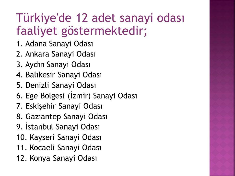 Türkiye de 12 adet sanayi odası faaliyet göstermektedir; 1.
