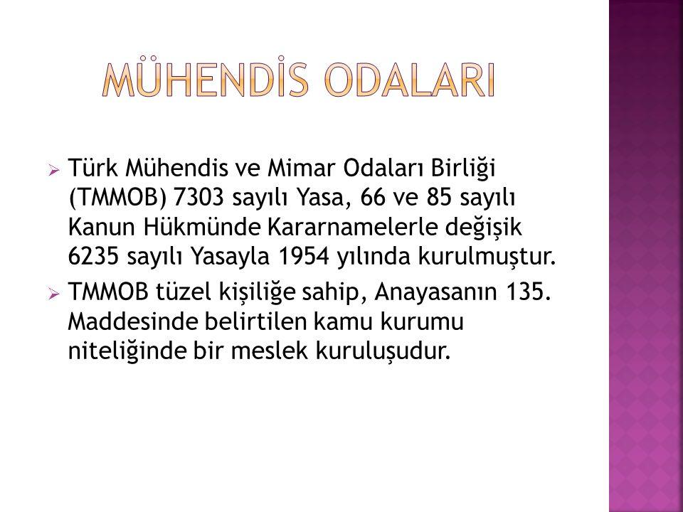  Türk Mühendis ve Mimar Odaları Birliği (TMMOB) 7303 sayılı Yasa, 66 ve 85 sayılı Kanun Hükmünde Kararnamelerle değişik 6235 sayılı Yasayla 1954 yılında kurulmuştur.