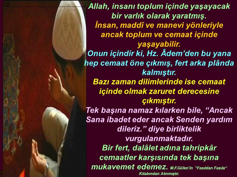 Allah, insanı toplum içinde yaşayacak bir varlık olarak yaratmış.