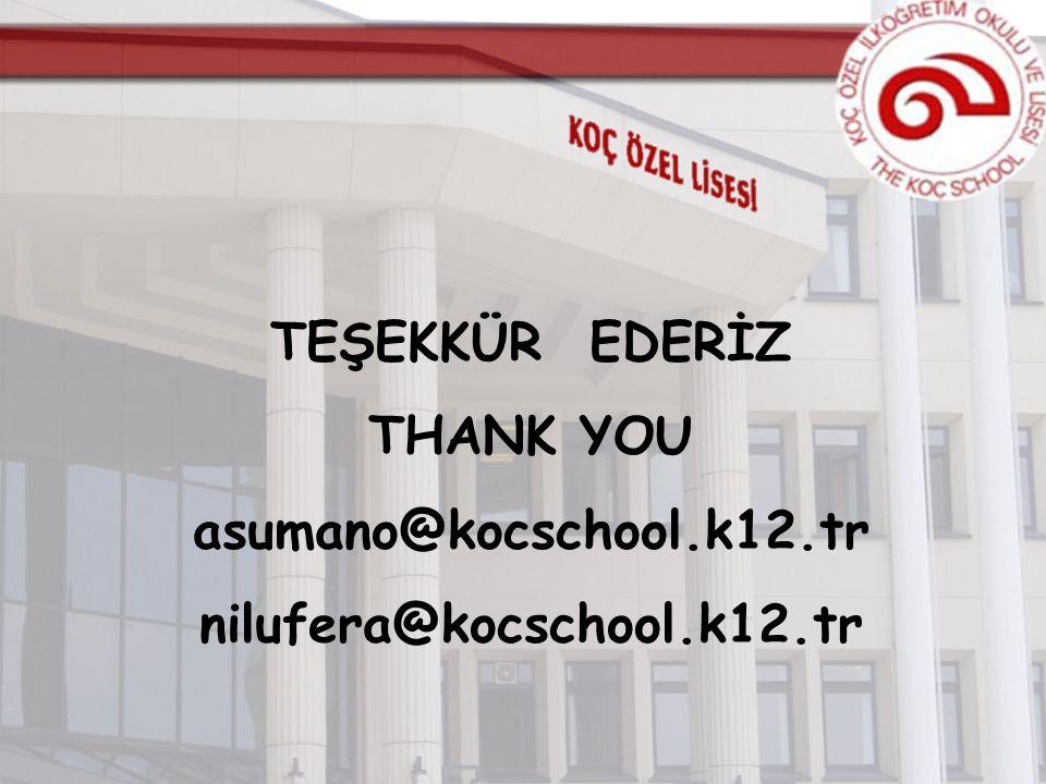 TEŞEKKÜR EDERİZ THANK YOU asumano@kocschool.k12.tr nilufera@kocschool.k12.tr