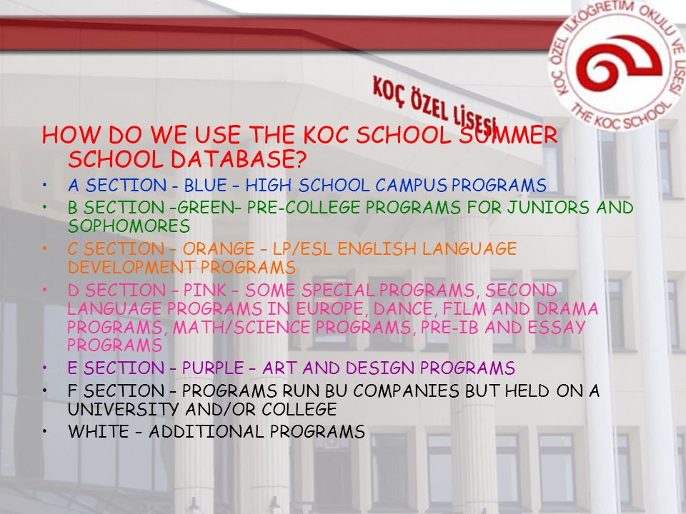 HOW DO WE USE THE KOC SCHOOL SUMMER SCHOOL DATABASE.