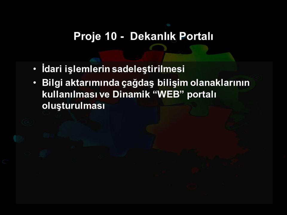 Proje 10 - Dekanlık Portalı İdari işlemlerin sadeleştirilmesi Bilgi aktarımında çağdaş bilişim olanaklarının kullanılması ve Dinamik WEB portalı oluşturulması