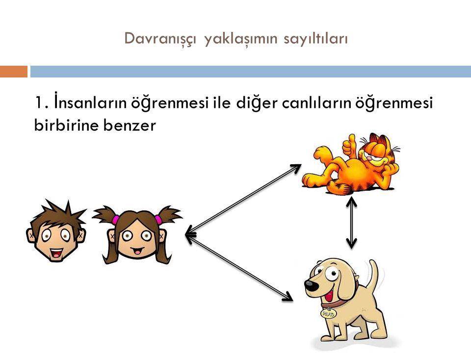 Davranışçı yaklaşımın sayıltıları 1. İ nsanların ö ğ renmesi ile di ğ er canlıların ö ğ renmesi birbirine benzer