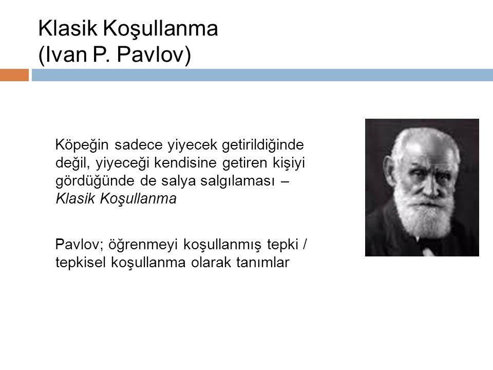 Klasik Koşullanma (Ivan P. Pavlov) Köpeğin sadece yiyecek getirildiğinde değil, yiyeceği kendisine getiren kişiyi gördüğünde de salya salgılaması – Kl