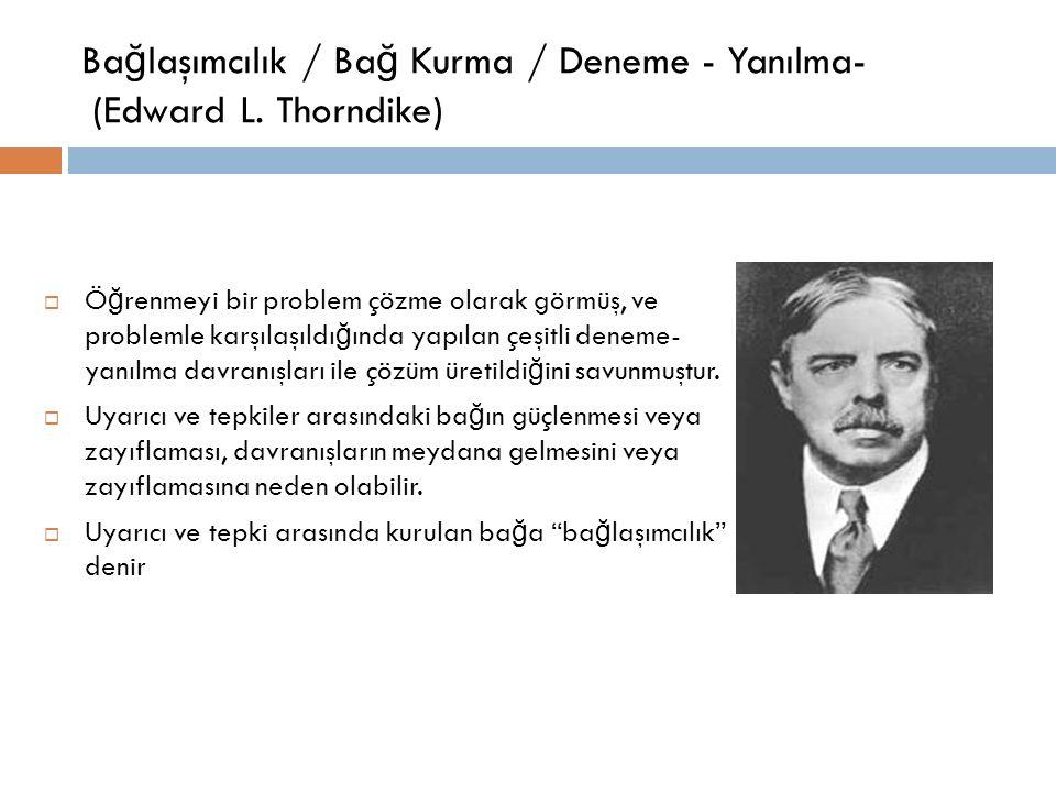 Ba ğ laşımcılık / Ba ğ Kurma / Deneme - Yanılma- (Edward L. Thorndike)  Ö ğ renmeyi bir problem çözme olarak görmüş, ve problemle karşılaşıldı ğ ında