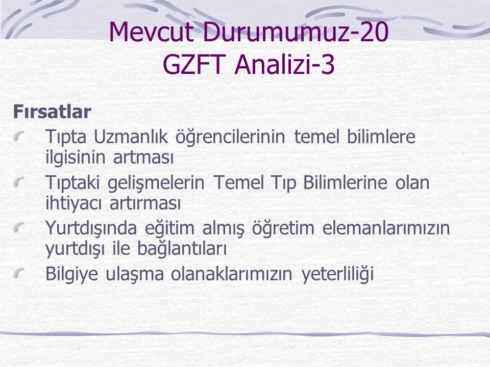 Mevcut Durumumuz-20 GZFT Analizi-3 Fırsatlar Tıpta Uzmanlık öğrencilerinin temel bilimlere ilgisinin artması Tıptaki gelişmelerin Temel Tıp Bilimlerine olan ihtiyacı artırması Yurtdışında eğitim almış öğretim elemanlarımızın yurtdışı ile bağlantıları Bilgiye ulaşma olanaklarımızın yeterliliği
