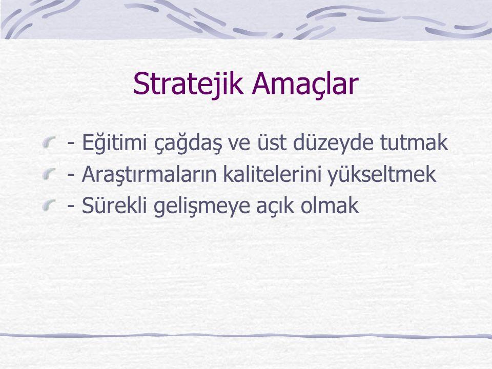 Stratejik Amaçlar - Eğitimi çağdaş ve üst düzeyde tutmak - Araştırmaların kalitelerini yükseltmek - Sürekli gelişmeye açık olmak
