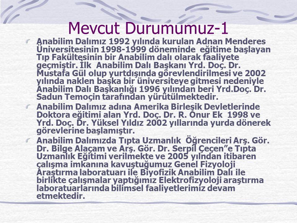 Mevcut Durumumuz-1 Anabilim Dalımız 1992 yılında kurulan Adnan Menderes Üniversitesinin 1998-1999 döneminde eğitime başlayan Tıp Fakültesinin bir Anabilim dalı olarak faaliyete geçmiştir.