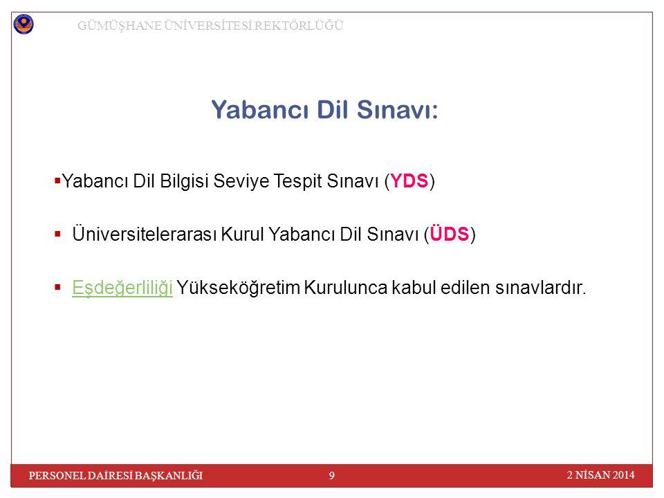 2 NİSAN 2014 PERSONEL DAİRESİ BAŞKANLIĞI 9 GÜMÜŞHANE ÜNİVERSİTESİ REKTÖRLÜĞÜ Yabancı Dil Sınavı:  Yabancı Dil Bilgisi Seviye Tespit Sınavı (YDS)  Üniversitelerarası Kurul Yabancı Dil Sınavı (ÜDS)  Eşdeğerliliği Yükseköğretim Kurulunca kabul edilen sınavlardır.Eşdeğerliliği