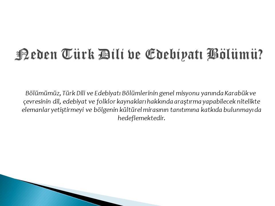 Bölümümüz, Türk Dili ve Edebiyatı Bölümlerinin genel misyonu yanında Karabük ve çevresinin dil, edebiyat ve folklor kaynakları hakkında araştırma yapabilecek nitelikte elemanlar yetiştirmeyi ve bölgenin kültürel mirasının tanıtımına katkıda bulunmayı da hedeflemektedir.