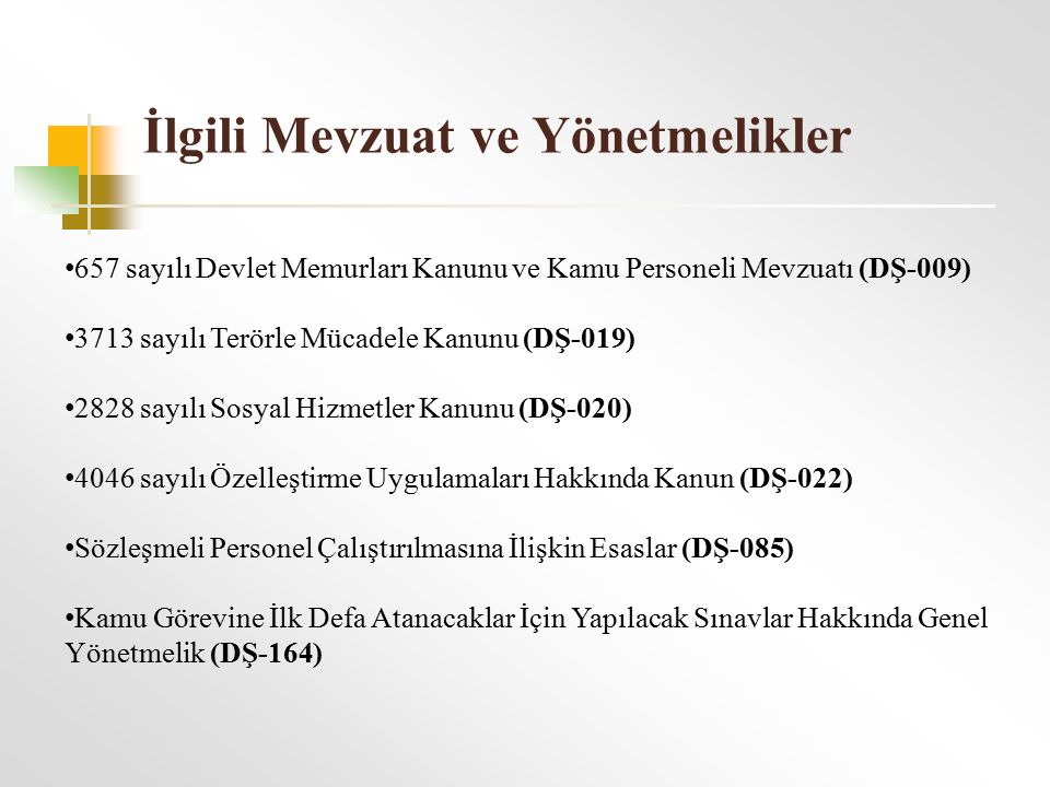 İlgili Mevzuat ve Yönetmelikler 657 sayılı Devlet Memurları Kanunu ve Kamu Personeli Mevzuatı (DŞ-009) 3713 sayılı Terörle Mücadele Kanunu (DŞ-019) 2828 sayılı Sosyal Hizmetler Kanunu (DŞ-020) 4046 sayılı Özelleştirme Uygulamaları Hakkında Kanun (DŞ-022) Sözleşmeli Personel Çalıştırılmasına İlişkin Esaslar (DŞ-085) Kamu Görevine İlk Defa Atanacaklar İçin Yapılacak Sınavlar Hakkında Genel Yönetmelik (DŞ-164)