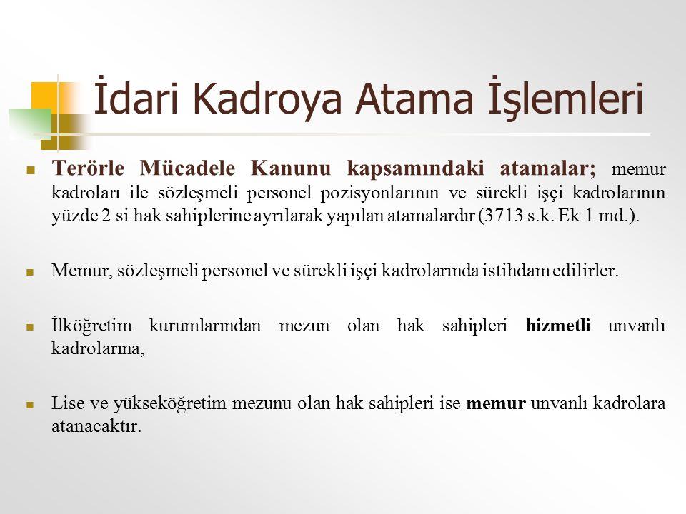 İdari Kadroya Atama İşlemleri Terörle Mücadele Kanunu kapsamındaki atamalar; memur kadroları ile sözleşmeli personel pozisyonlarının ve sürekli işçi k