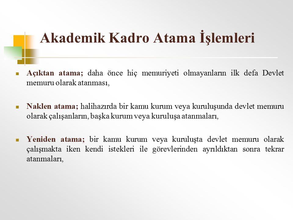 Akademik Kadro Atama İşlemleri 2547 s.k.60/b md.
