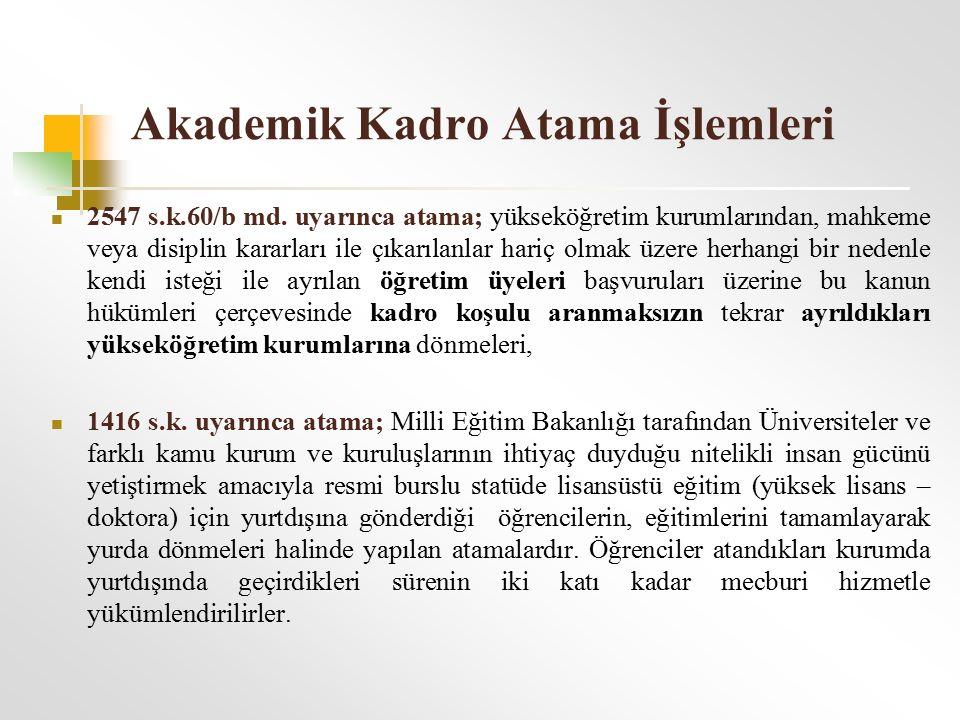 Akademik Kadro Atama İşlemleri 2547 s.k.60/b md. uyarınca atama; yükseköğretim kurumlarından, mahkeme veya disiplin kararları ile çıkarılanlar hariç o