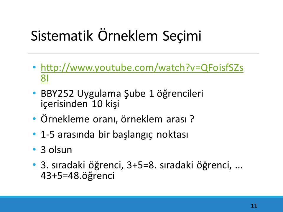 Sistematik Örneklem Seçimi http://www.youtube.com/watch?v=QFoisfSZs 8I http://www.youtube.com/watch?v=QFoisfSZs 8I BBY252 Uygulama Şube 1 öğrencileri içerisinden 10 kişi Örnekleme oranı, örneklem arası .