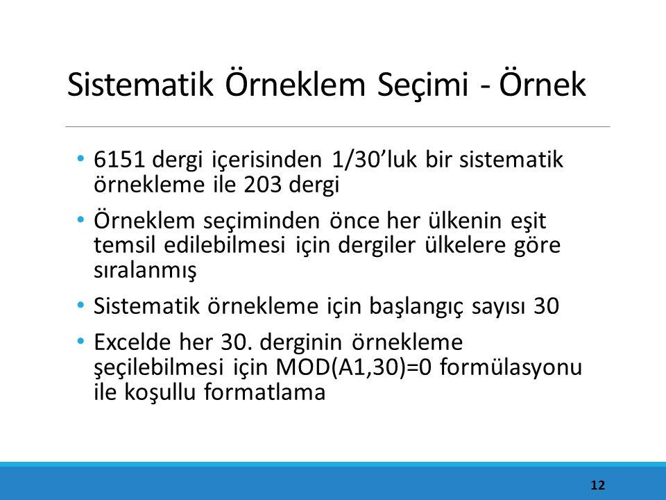 Sistematik Örneklem Seçimi - Örnek 6151 dergi içerisinden 1/30'luk bir sistematik örnekleme ile 203 dergi Örneklem seçiminden önce her ülkenin eşit temsil edilebilmesi için dergiler ülkelere göre sıralanmış Sistematik örnekleme için başlangıç sayısı 30 Excelde her 30.