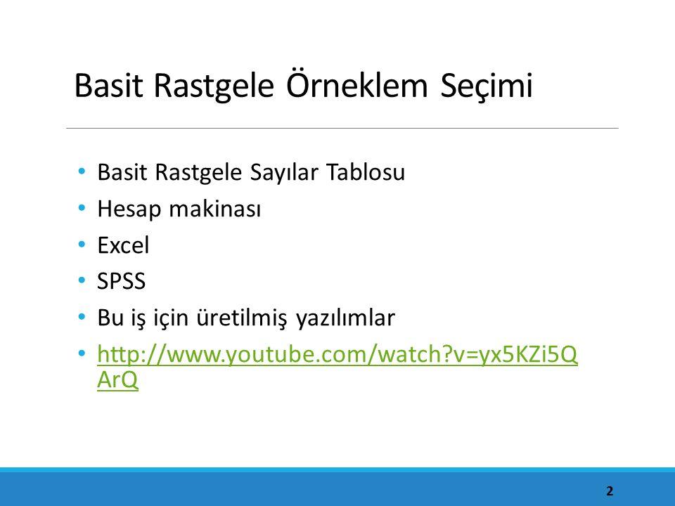 Basit Rastgele Örneklem Seçimi Basit Rastgele Sayılar Tablosu Hesap makinası Excel SPSS Bu iş için üretilmiş yazılımlar http://www.youtube.com/watch?v=yx5KZi5Q ArQ http://www.youtube.com/watch?v=yx5KZi5Q ArQ 2